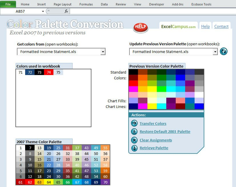 Excel 2007-2010 Color Pallette Conversion Tool Screenshot