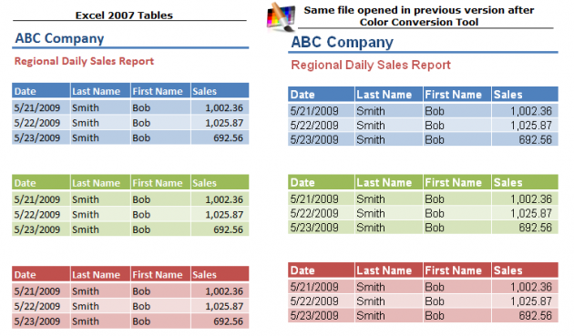 Excel 2007 Table Colors Converted with Tool